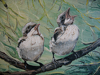 Baby Chick Birds Vintage Oil Painting