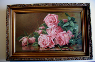 H Marsh A Bowl of Pink Roses antique print